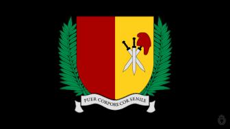Stemma della Scuola Parentale San Pancrazio: uno scudo giallo-rosso con tre spade e un cappello frigio
